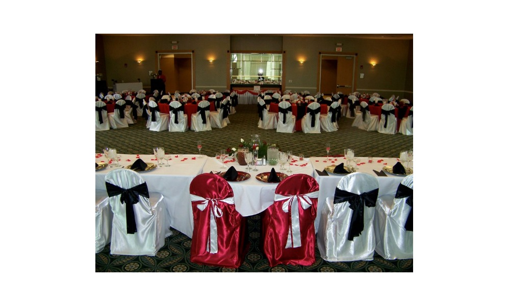 red and white tables